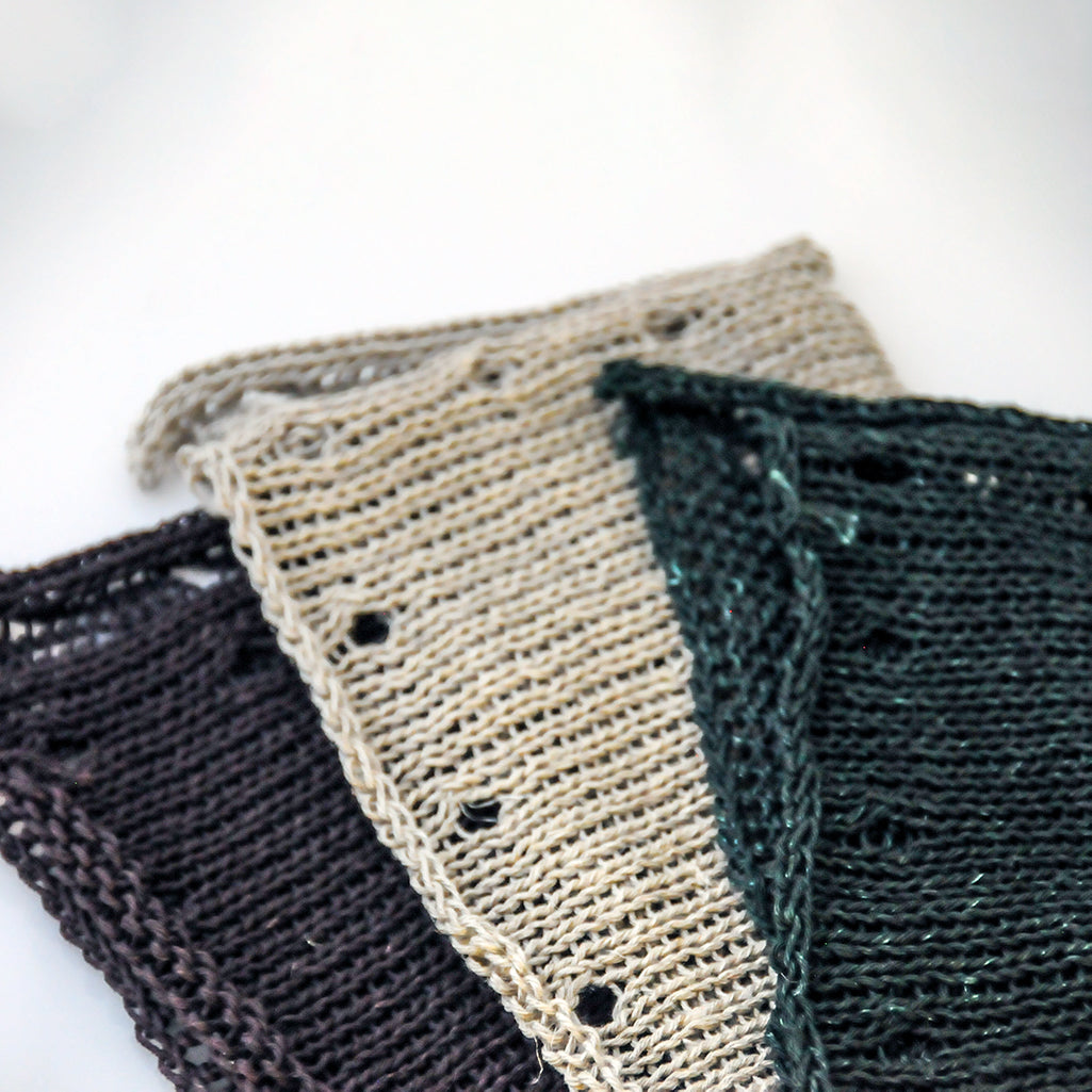 Hemp Washcloths in Eggplant, Natural, and Emerald