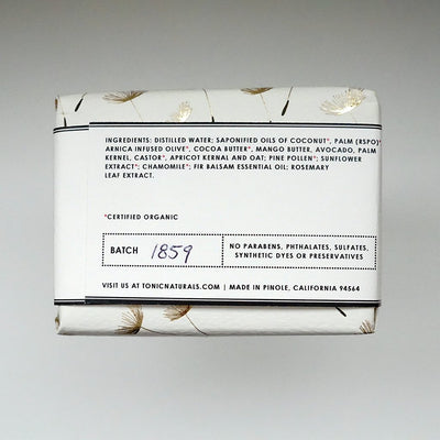 Pine Bar Soap Ingredient Label