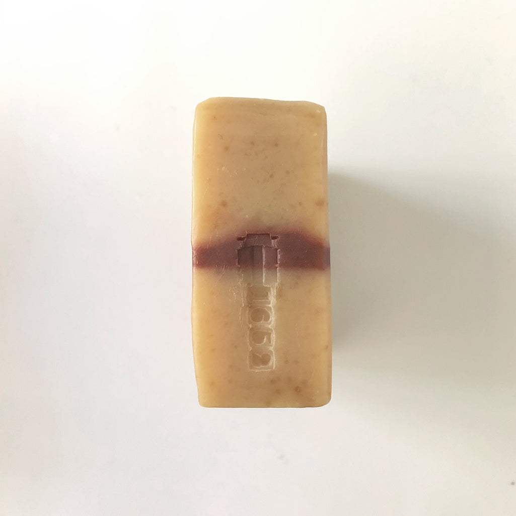 Rockrose Bar Soap with batch stamp