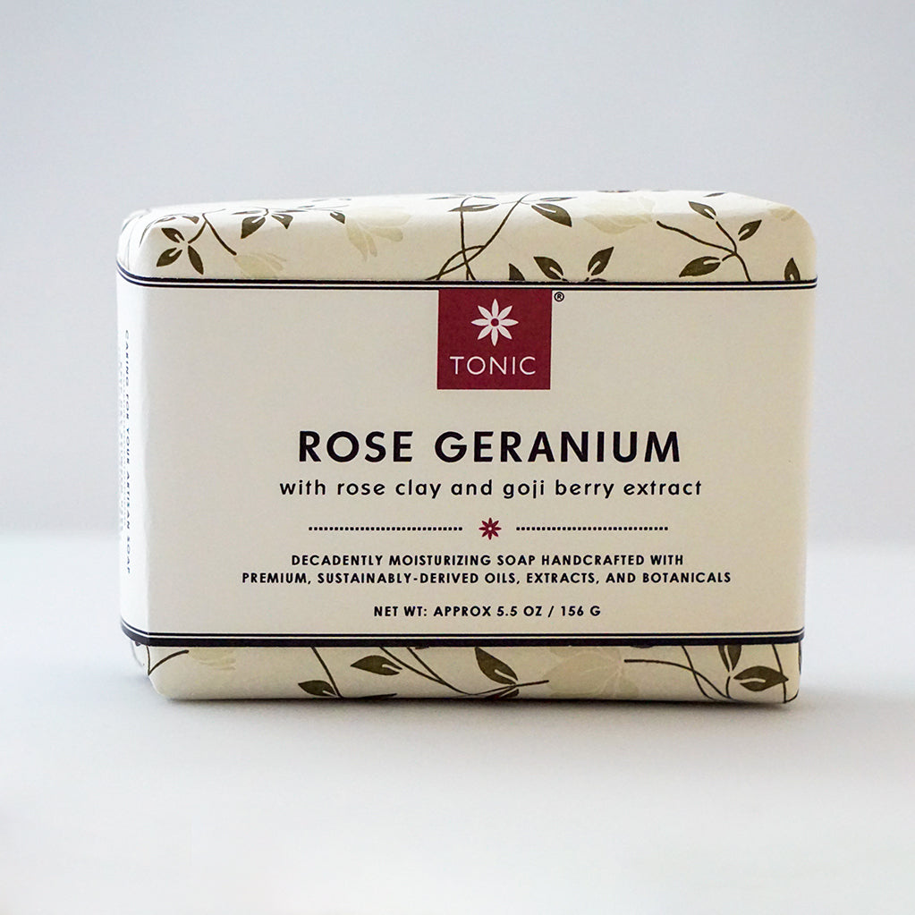 Rose Geranium Bar Soap with Rose Clay and Goji Berry Extract by TONIC