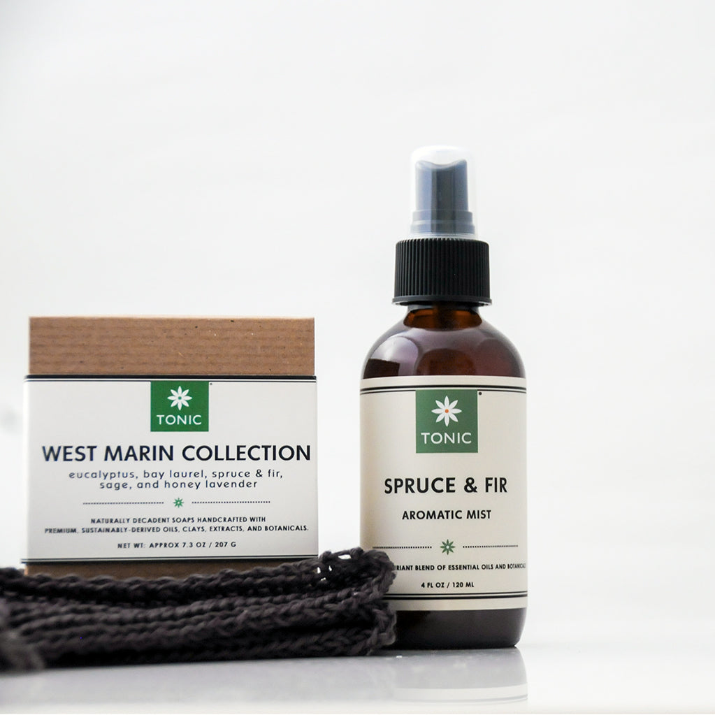 Tonic Naturals West Marin Soap & Spritz Set with West Marin Soap Sampler, Spruce & Fir Aromatic Room Spray, and Hemp Washcloth
