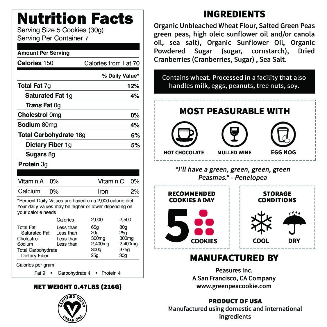 Nutrition Facts Of Penelopea the Cranberry Green Pea Cookie