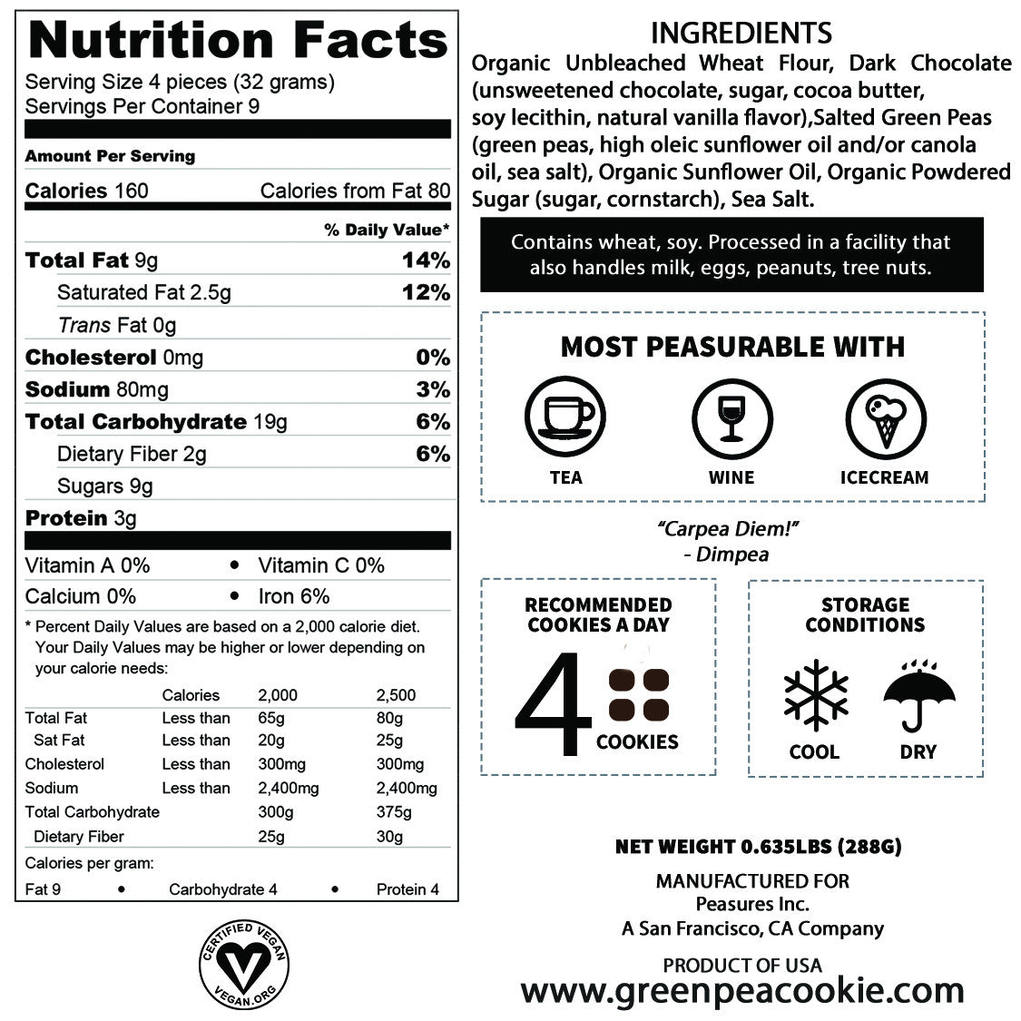 Nutrition Facts Of Dimpea Green Pea Cookie