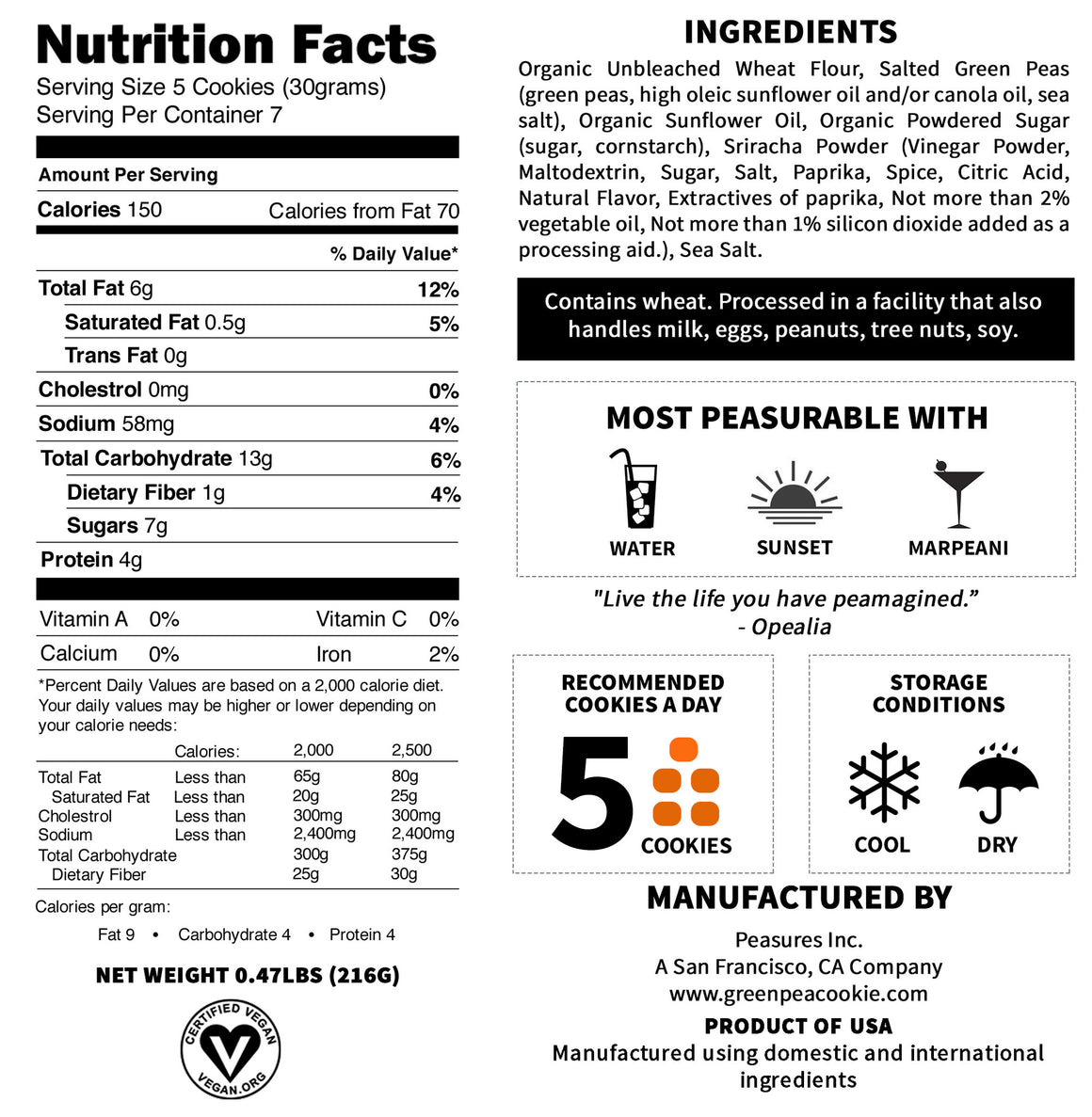 Nutrition Facts Of Opealia The Sriracha Green Pea Cookie