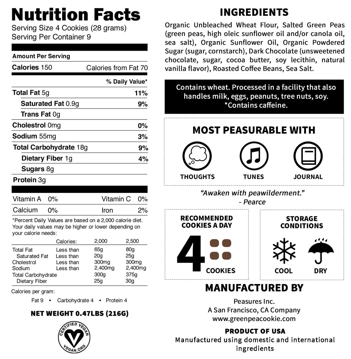 Nutrition Facts Of The Mocha Green Pea Cookie