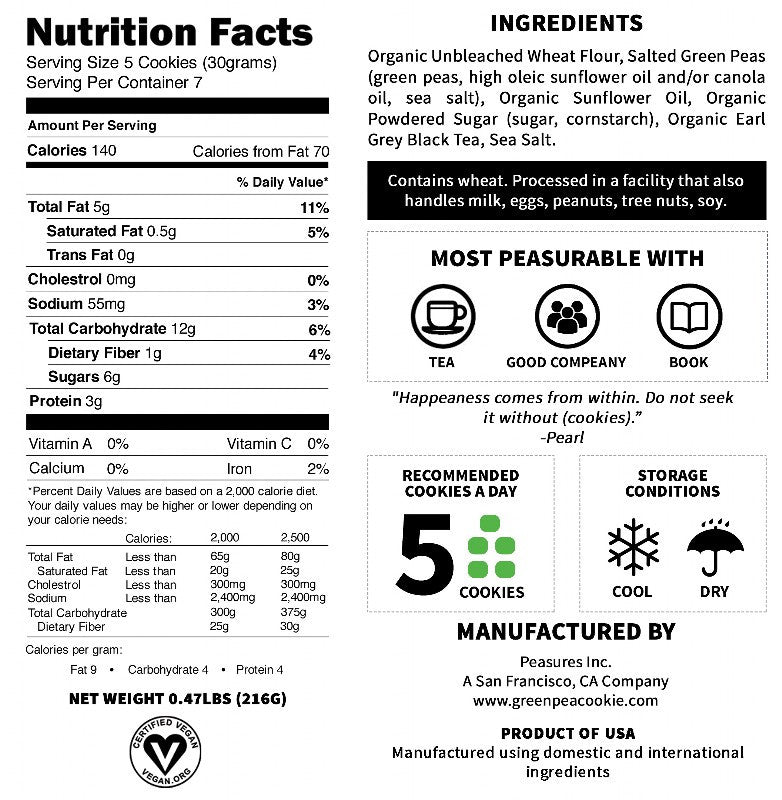 Nutrition Facts of The Earl Grey Green Pea Cookie