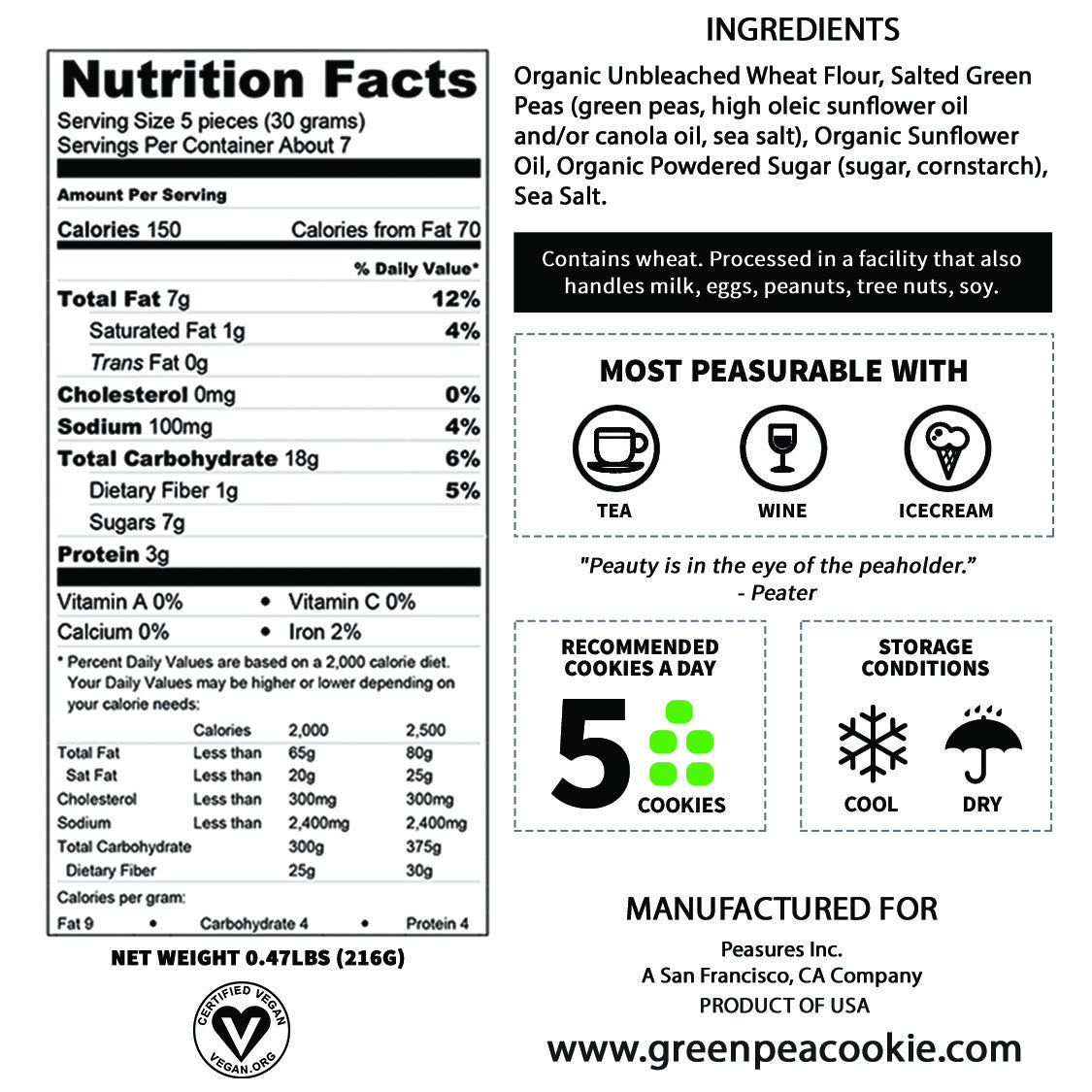 Nutrition Facts Of Peater Green Pea Cookie