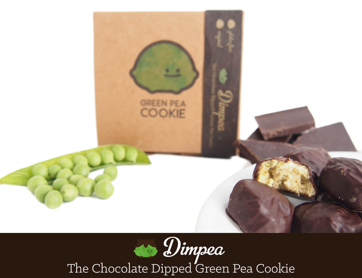 Dimpea the Chocolate Dipped Green Pea Cookie