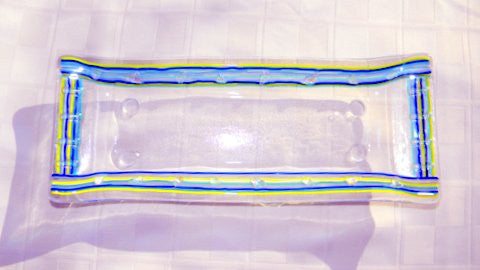 electric stripes glass tray