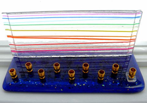 rainbow stripes hanukkiah