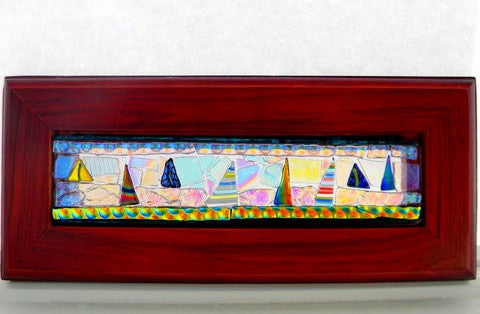 Wood Framed Fused Glass Sailboats
