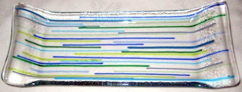 blue and yellow striped glass tray