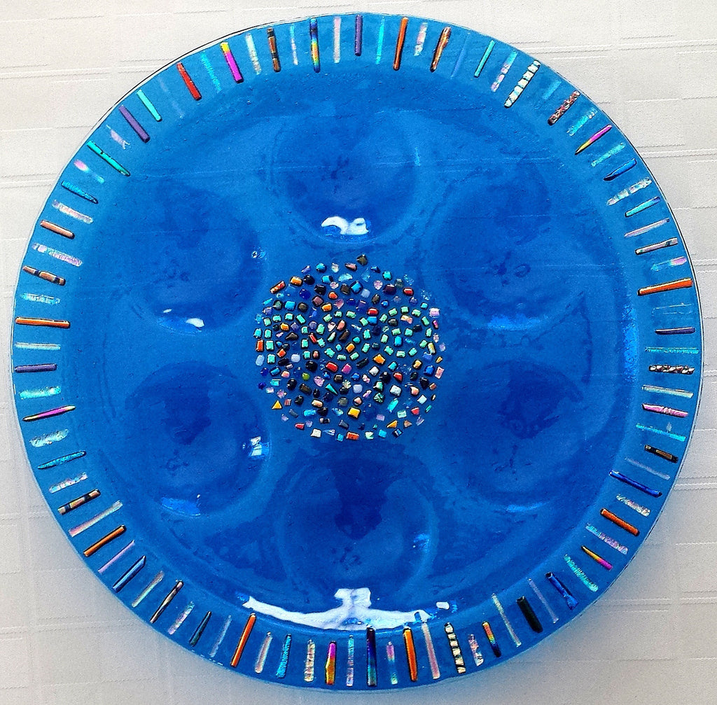lineal mosaic glass seder plate