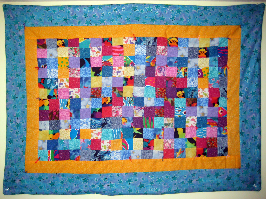 patchwork quilt with multicolored squares