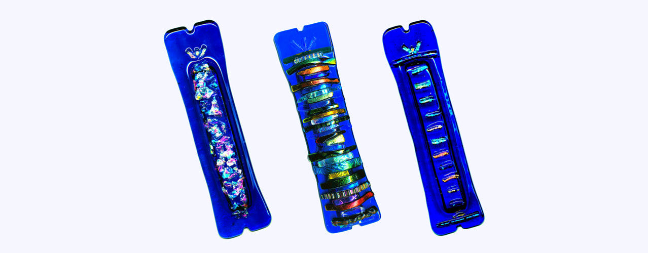 blue glass mezuzah series