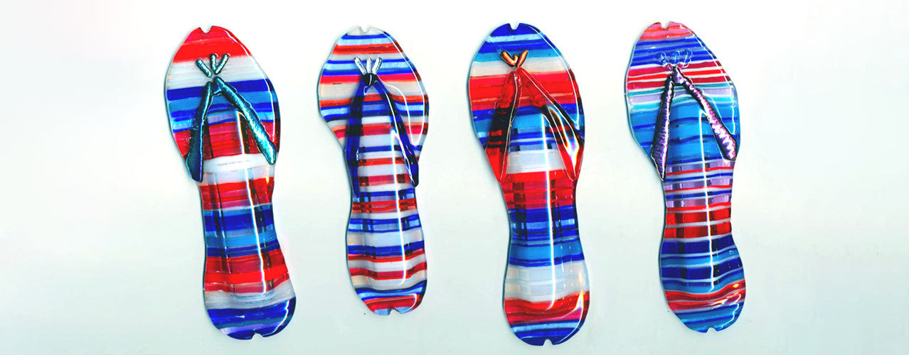 USA red white and blue flip flop mezuzah series