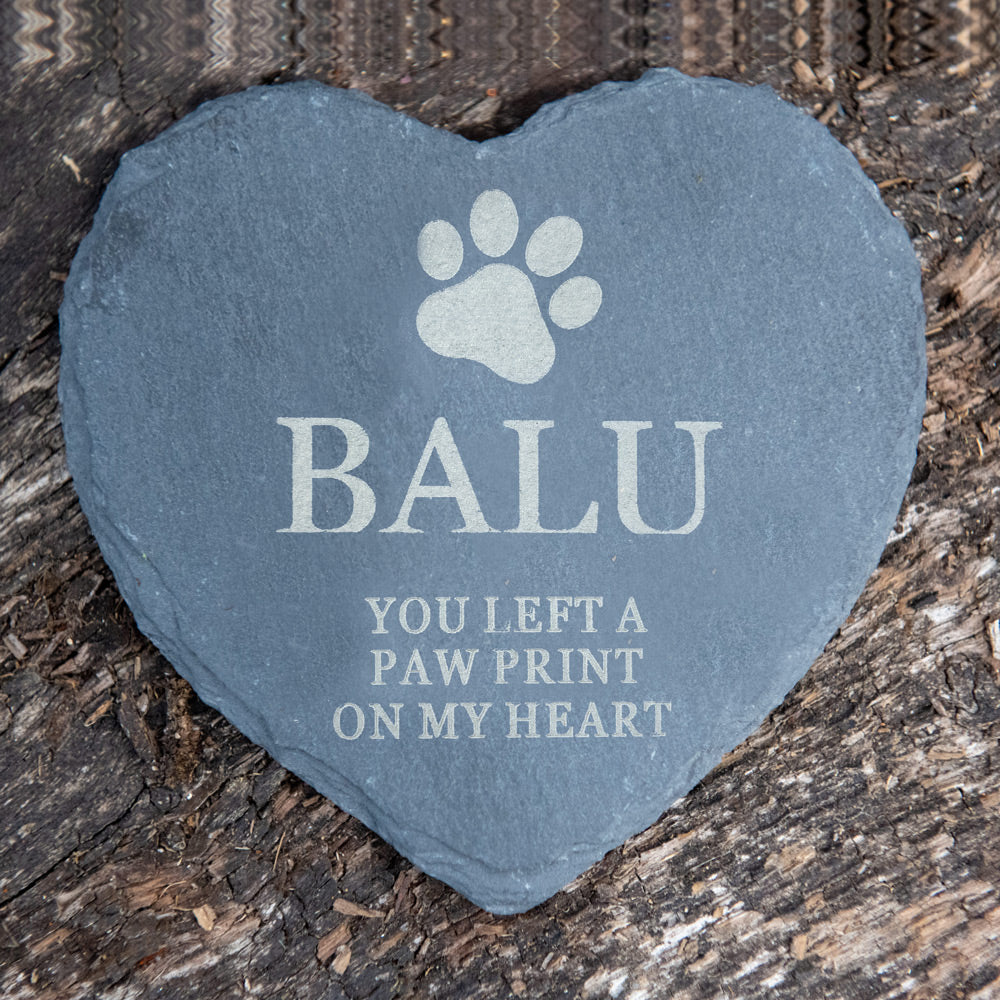 Personalised Pet Slate Heart 'You left a paw print on my heart'  with Paw Print