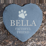 Personalised Pet Slate Heart 'Faithful Friend' with Paw Print