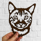 Bengal Cat - Rustic Rusted Cat Sculpture - Solid Steel