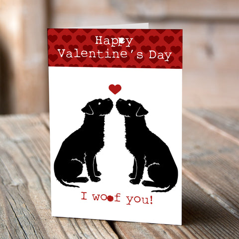 Border Terrier I Woof You - Valentine Card