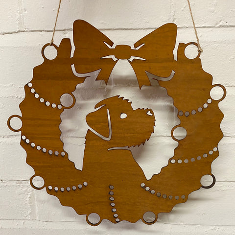 Border Terrier Festive Wreath - Rustic Festive Decoration - Solid Steel