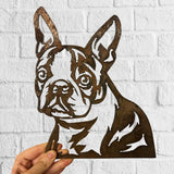 Boston Terrier - Rustic Rusted Pet Garden Sculpture - Solid Steel