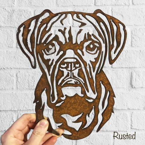 Boxer - Rustic Rusted Pet Garden Sculpture - Solid Steel