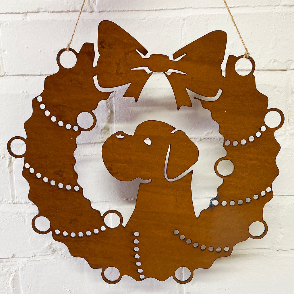 Boxer Festive Wreath - Rustic Festive Decoration - Solid Steel