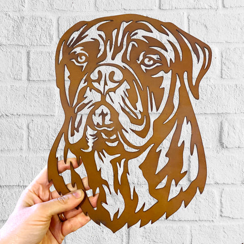 Bullmastiff - Rustic Rusted Pet Garden Sculpture - Solid Steel