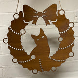 Cat Festive Wreath - Rustic Festive Decoration - Solid Steel