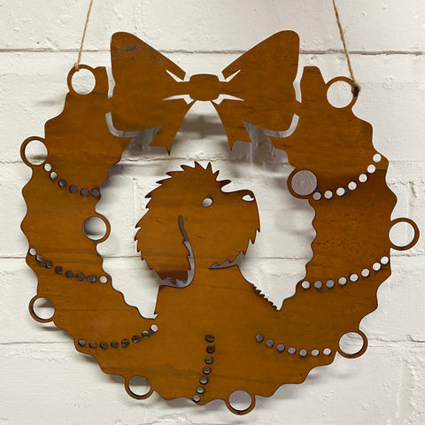 Cockapoo Festive Wreath - Rustic Festive Decoration - Solid Steel