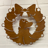 Collie Dog Festive Wreath - Rustic Festive Decoration - Solid Steel