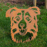 Collie Dog - Rustic Rusted Pet Garden Sculpture - Solid Steel
