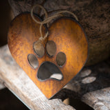 Paw Print Heart - Rustic Rusted Garden Sign