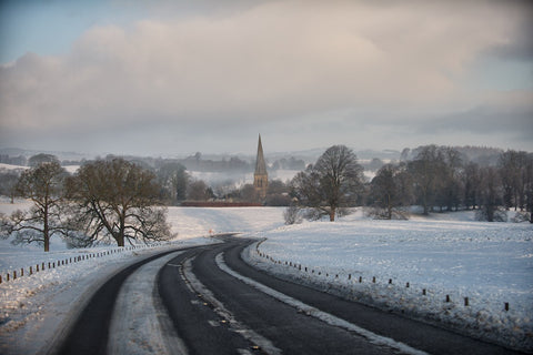 Edensor Church - Chatsworth at Christmas Landscape Print
