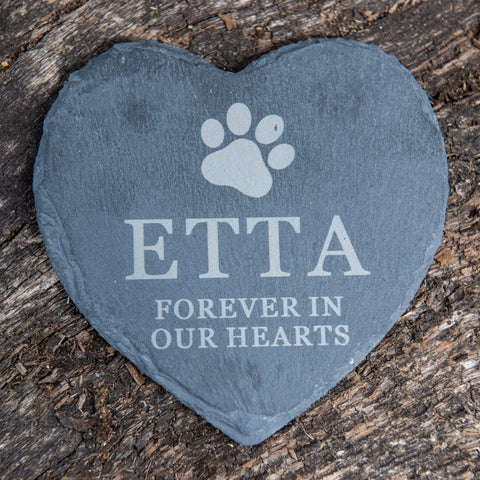 Personalised Pet Slate Heart 'Forever in our hearts' with Paw Print