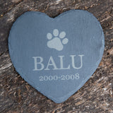 Personalised Pet Slate Heart and Dates with Paw Print