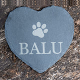 Personalised Pet Slate Heart with Paw Print