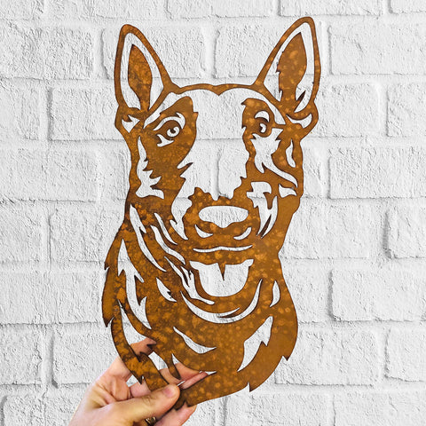 English Bull Terrier - Rustic Rusted Pet Garden Sculpture - Solid Steel