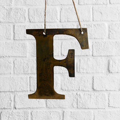 Initial Plain - Rustic Rusted Garden Sign