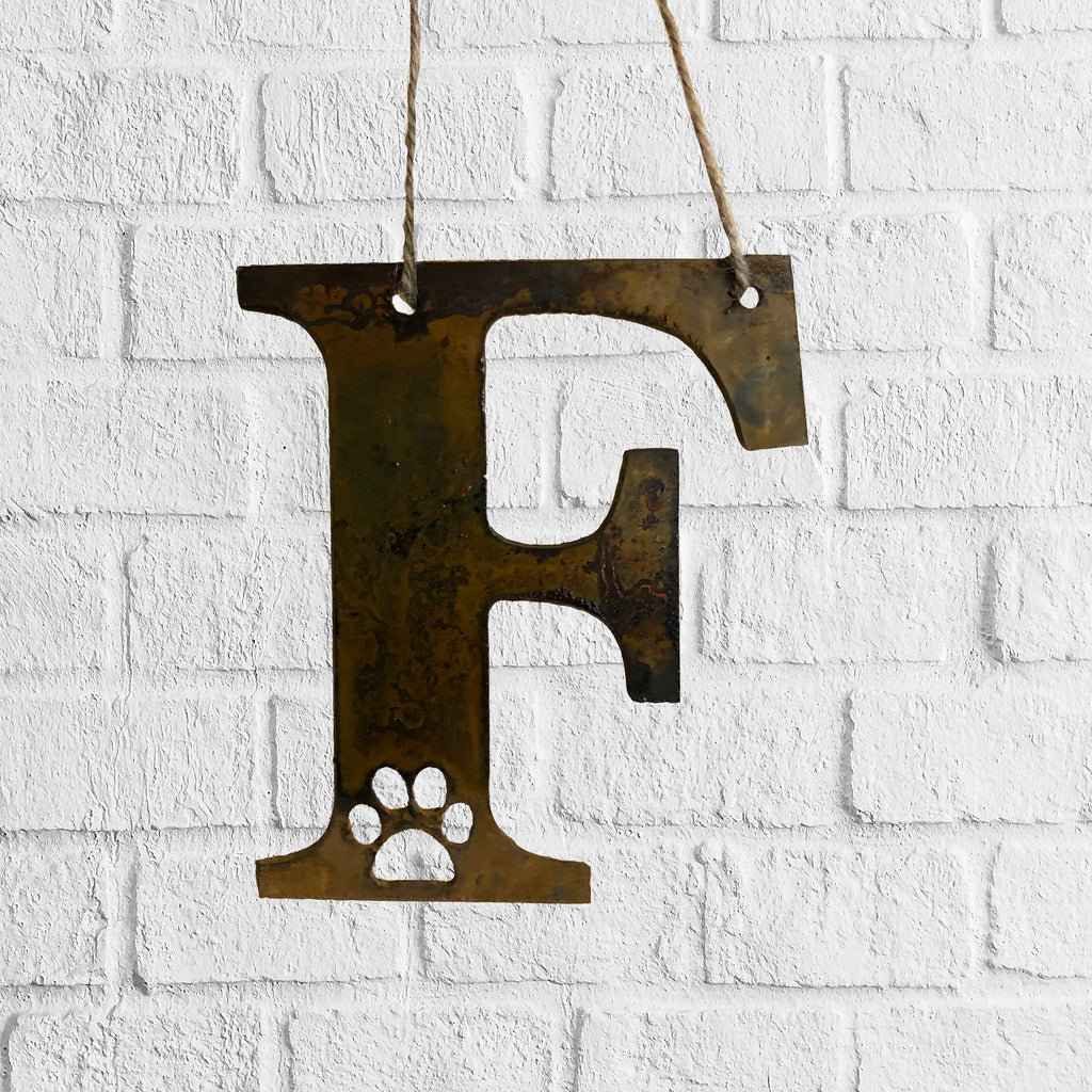 Initial with Paw Print - Rustic Rusted Garden Sign
