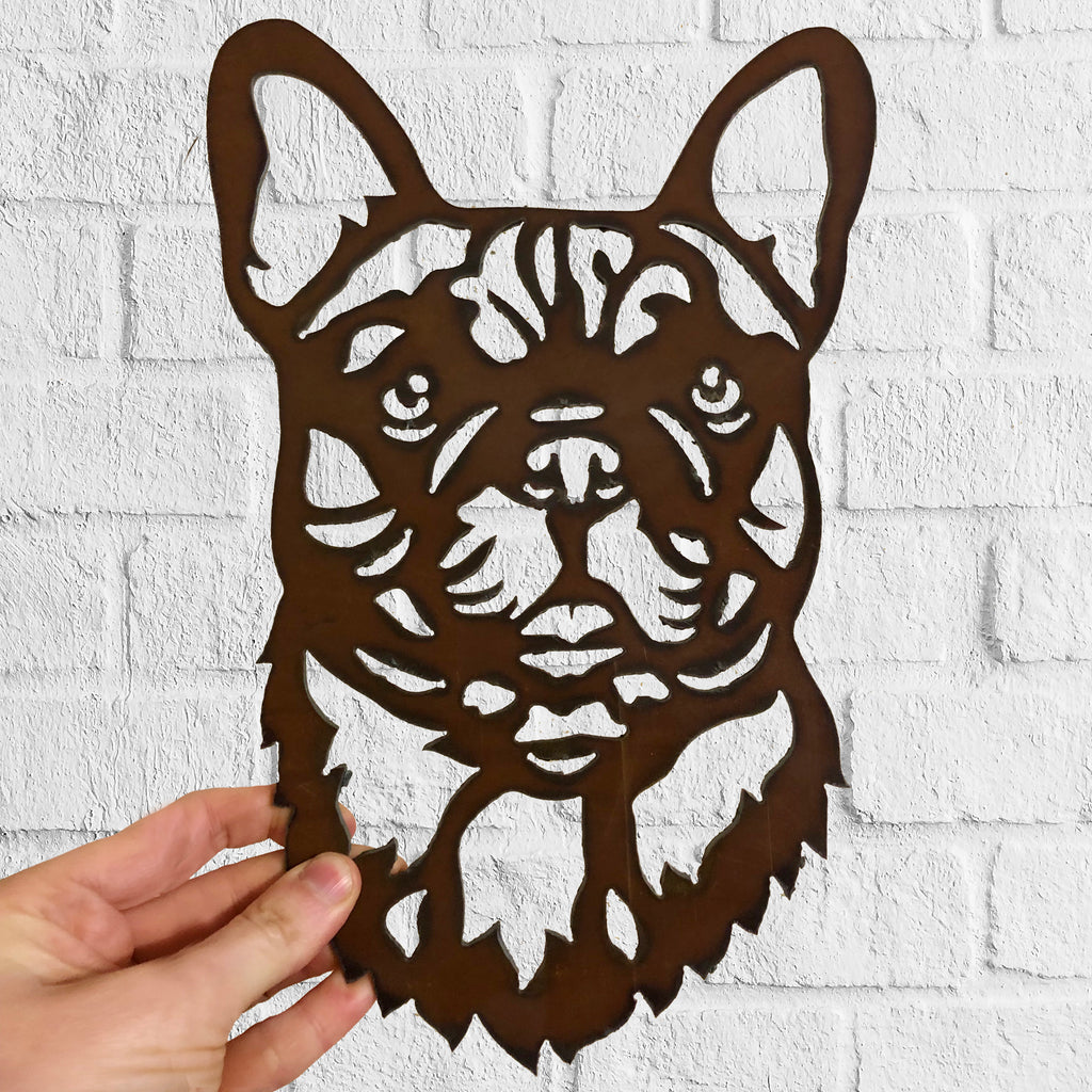 French Bulldog  - Rustic Rusted Pet Garden Sculpture - Solid Steel