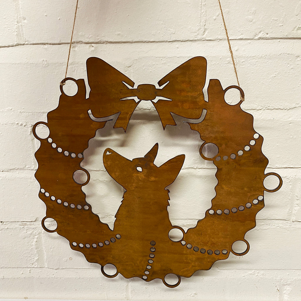 German Shepherd Festive Wreath - Rustic Festive Decoration - Solid Steel