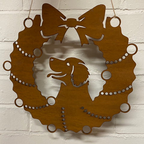 Golden Retriever Festive Wreath - Rustic Festive Decoration - Solid Steel