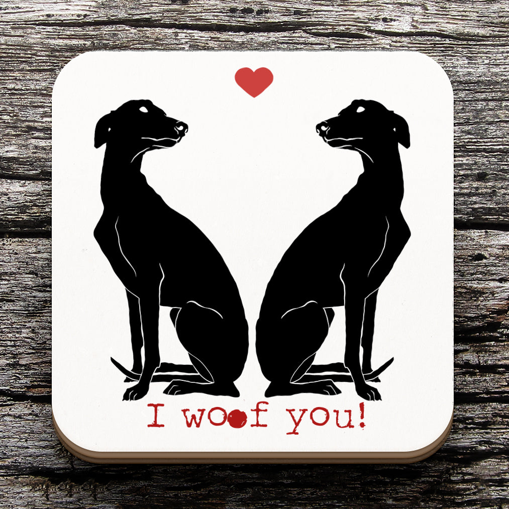 Greyhound Valentine Coaster