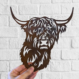 Highland Cow - Rustic Rusted Garden Wildlife Sculpture - Solid Steel