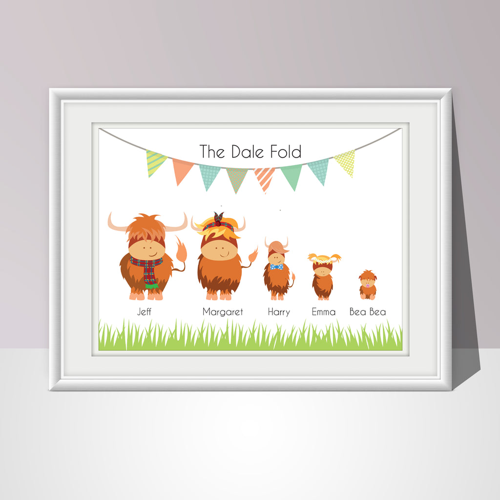 Highland Cow Family Print