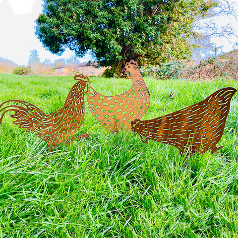 A Trio - 2 Chickens and a Cockerel - Easter