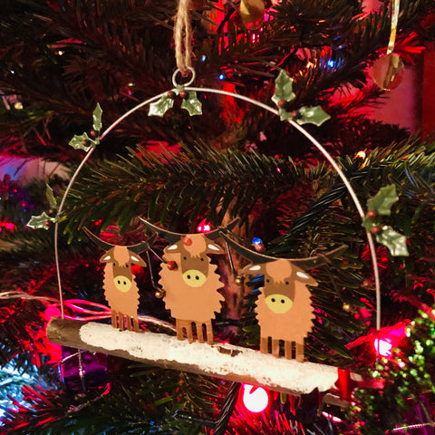 Highland Cow Christmas Decoration - Country Chicks
