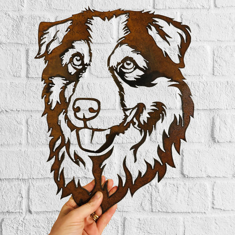 Australian Shepherd  - Rustic Rusted Pet Garden Sculpture - Solid Steel